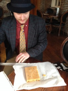 Sam limbers up to cut a precise 175g square without scales