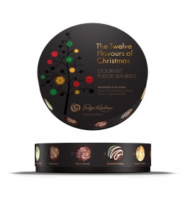 The 12 Flavours of Christmas, including  including Christmas Pudding, Cranberry & Orange, Mince Pie, Continental Gingerbread, Irish Cream and Cherry Brandy,